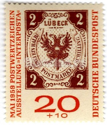 "марка ФРГ 20+10 пфенниг ""Stampexhibition INTERPOSTA"" 1959 год"