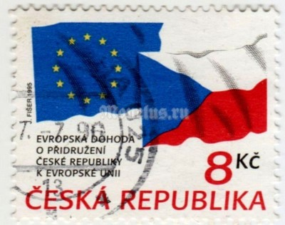 "марка Чехия 8 крон ""THE ASSOCIATION AGREEMENT BETWEEN THE CZECH REPUBLIC AND EU"" 1995 год гашение"