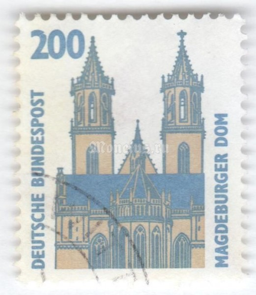 "марка ФРГ 200 пфенниг ""Magdeburg Cathedral"" 1993 год Гашение"