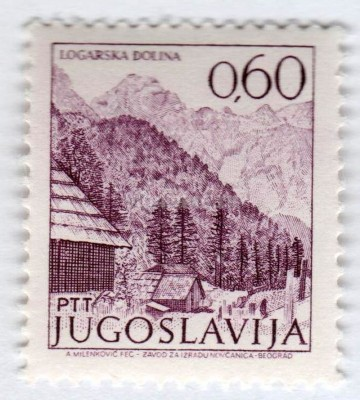 "марка Югославия 0,60 динар ""Mountains, Logarska Dolina"" 1972 год"