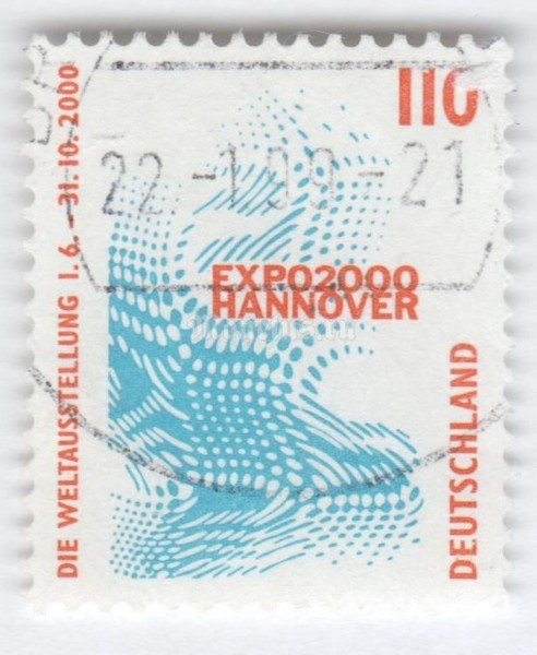 "марка ФРГ 110 пфенниг ""Emblem of the World Exhibition EXPO 2000, Hannover"" 1998 год Гашение"