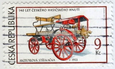 "марка Чехия 9 крон ""Powered fire-engine, 1933"" 2003 год гашение"