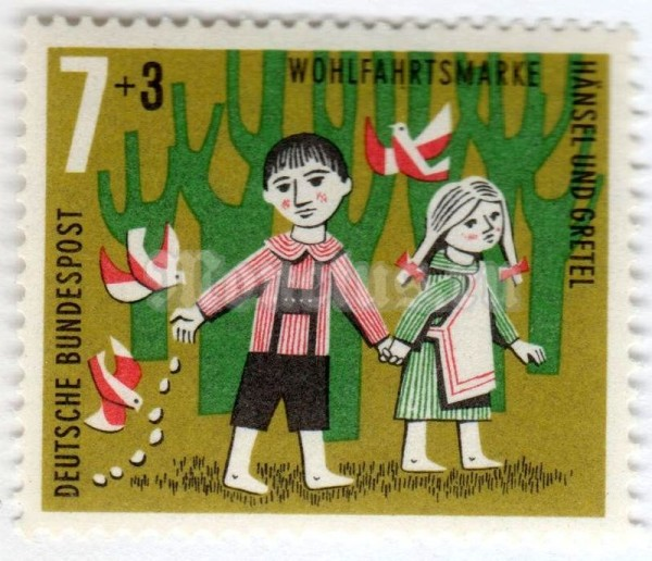 "марка ФРГ 7+3 пфенниг ""Scene from the fairy tale ""Hansel and Gretel"""" 1961 год"