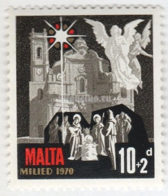 "марка Мальта 10+2 пенни ""Church, star and angels with Infant"" 1970 год"