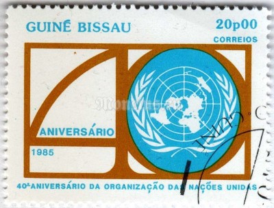 "марка Гвинея-Биссау 20 песо ""40th Anniversary of the United Nations"" 1985 год Гашение"