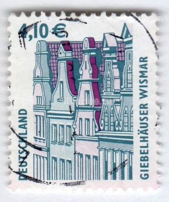 "марка ФРГ 4,10 евро ""Gabled houses, Wismar**"" 2003 год Гашение"