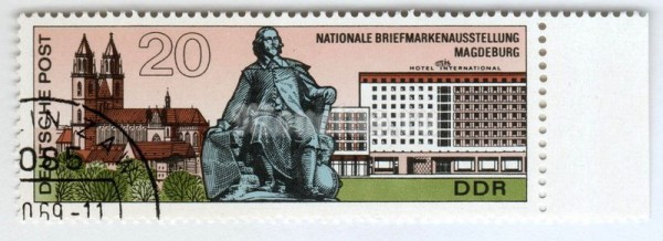 "марка ГДР 20 пфенниг ""Magdeburg: Cathedral, monument, hotel"" 1969 год Гашение"