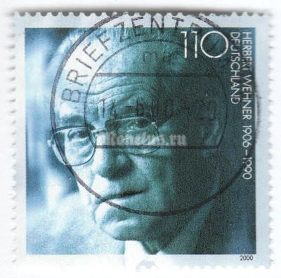 "марка ФРГ 110 пфенниг ""Herbert Wehner (1906-1990), politician"" 2000 год Гашение"