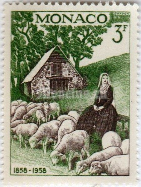 "марка Монако 3 франка ""Bernadette with sheeps"" 1958 год"