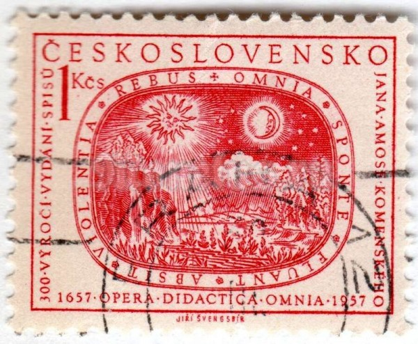"марка Чехословакия 1 крона ""Sun, moon, stars and earth"" 1957 год Гашение"