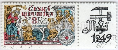 "марка Чехия 8 крон ""750th Anniversary of Jihlava mining rights"" 1999 год Гашение"
