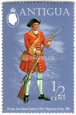 "марка Антигуа 1/2 цента ""Private, Colonel Zacharias Tiffin's Regiment (1701)"" 1973 год"