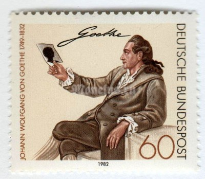 "марка ФРГ 60 пфенниг ""Goethe (after Georg Melchior Kraus)"" 1982 год"