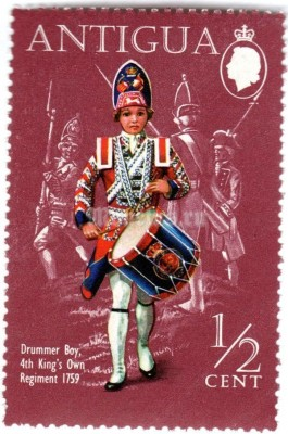 "марка Антигуа 1/2 цента ""Drummer Boy, 4th King's Own Regiment (1759)"" 1970 год"