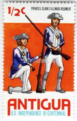 "марка Антигуа 1/2 цента ""Privates Clark's Illinois Regiment"" 1976 год"