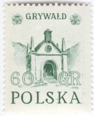 "марка Польша 60 грош ""Grywald, wooden church"" 1952 год"