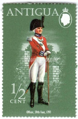 "марка Антигуа 1/2 цента ""Officer, 59th Regiment of Foot (1797)"" 1974 год"