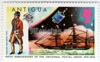 "марка Антигуа 1 цент ""English Bellman 1846, Orinoco Mailboat 1851, Satellite"" 1974 год"