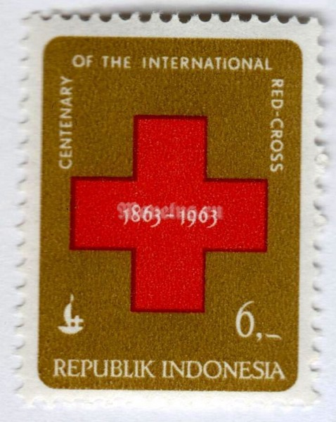 "марка Индонезия 6 рупий ""International Red Cross"" 1963 год"