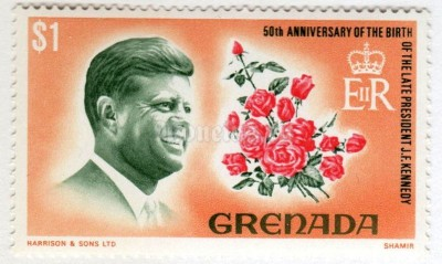 "марка Гренада 1 доллар ""Pres. John F. Kennedy"" 1968 год"