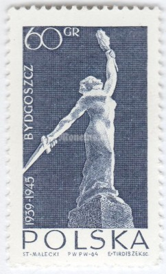 "марка Польша 60 грош ""Nike, proposed monument for the martyrs of Bydgoszcz"" 1964 год"