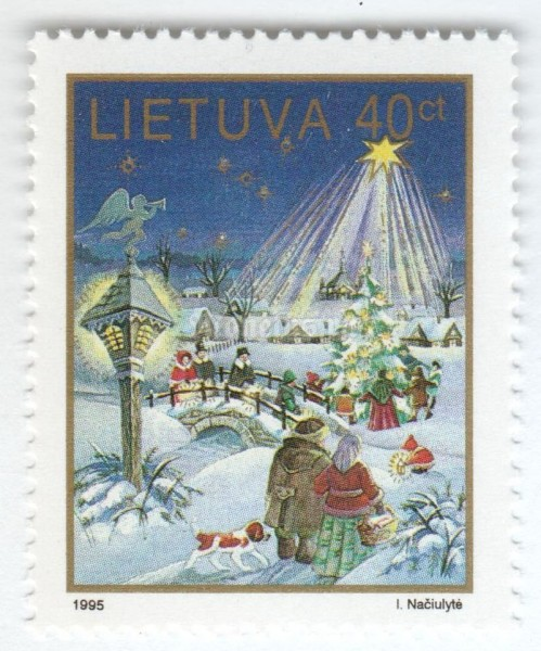 "марка Литва 40 центес ""Star over Winter Scene"" 1995 год"