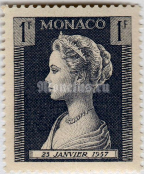 "марка Монако 1 франк ""Princess Grace Patricia (1929-1982)"" 1957 год"