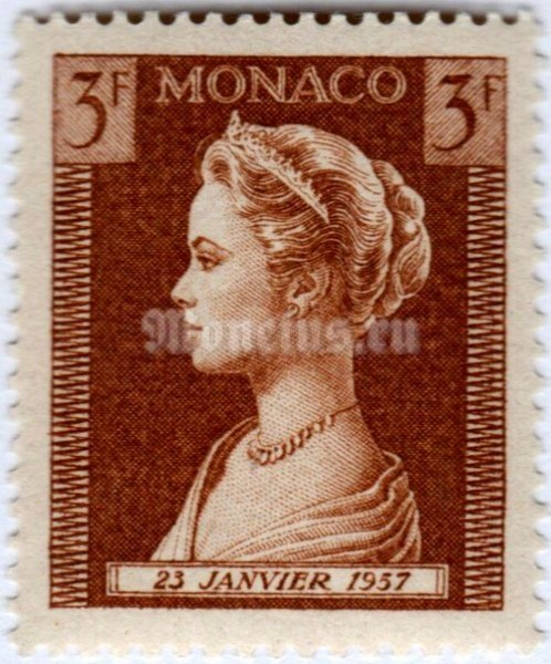 "марка Монако 3 франка ""Princess Grace Patricia (1929-1982)"" 1957 год"