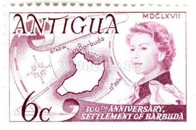 "марка Антигуа 6 центов ""Resettlement of Barbuda, 300th anniv."" 1967 год"