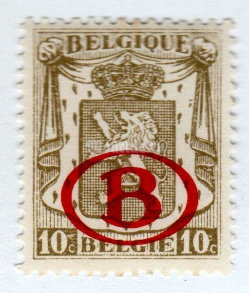 "марка Бельгия 10 сентим ""Service stamp: Coat of Arms with overprint B in oval"" 1941 год"