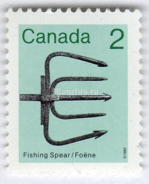 "марка Канада 2 цента ""Fishing spear"" 1982 год"