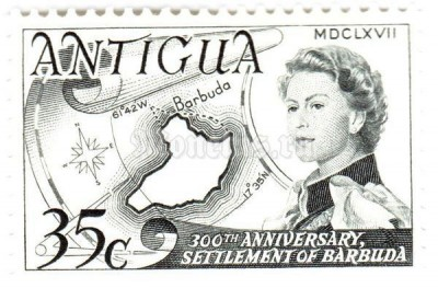 "марка Антигуа 35 центов ""Resettlement of Barbuda, 300th anniv."" 1967 год"
