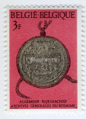 "марка Бельгия 3 франка ""Seal of Hendrik I from year of 1197"" 1966 год"