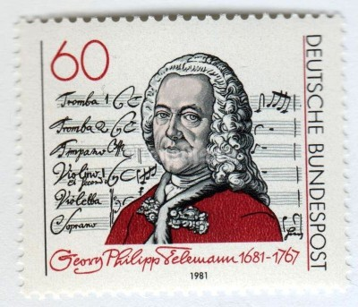 "марка ФРГ 60 пфенниг ""Telemann and title page of ""Singet dem Herrn"" Cantata"" 1981 год"