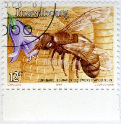 "марка Люксембург 12 франков ""Honey Bee (Apis mellifica)"" 1986 год Гашение"