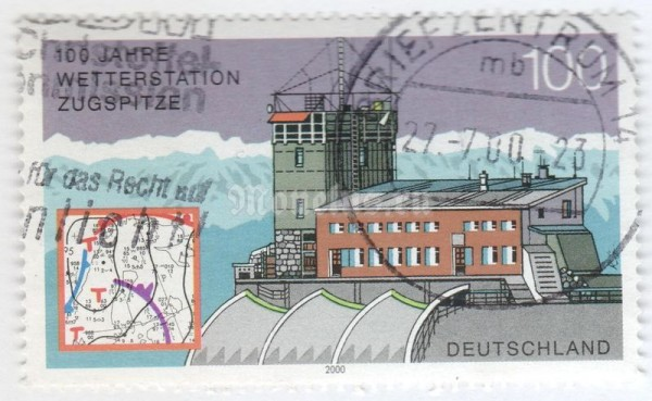 "марка ФРГ 100 пфенниг ""Meterorlogical station Zugspitze"" 2000 год Гашение"