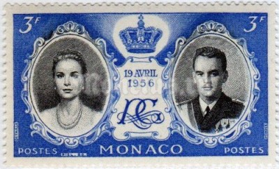 "марка Монако 3 франка ""Grace Kelly, Prince Rainier III, crown and monogram"" 1956 год"