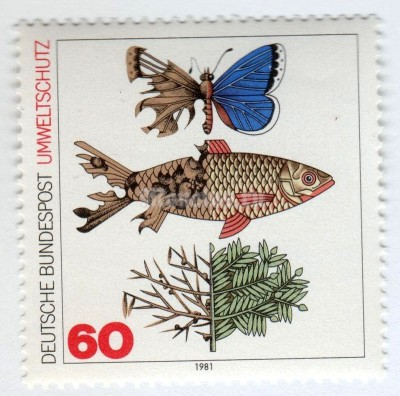 "марка ФРГ 60 пфенниг ""Polluted Butterfly, fish and branch, partially destroyed"" 1981 год"
