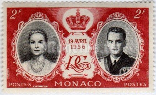 "марка Монако 2 франка ""Grace Kelly, Prince Rainier III, crown and monogram"" 1956 год"