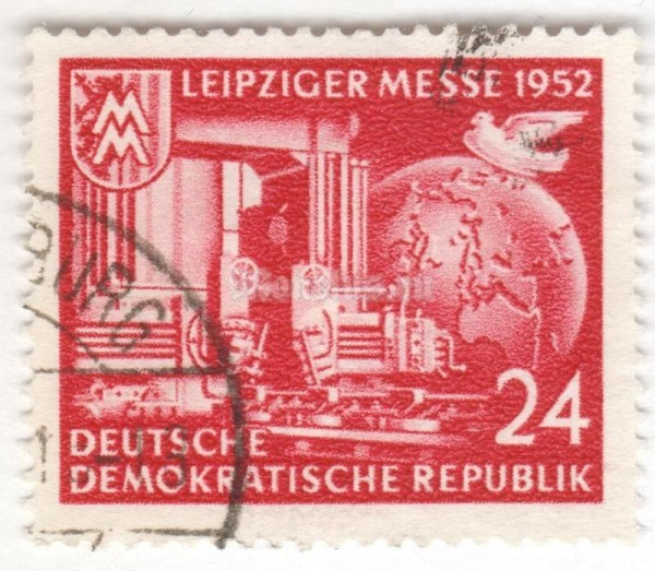 "марка ГДР 24 пфенниг ""Leipzig city coat of arms with trade fair sign; heavy engine"" 1952 год Гашение"