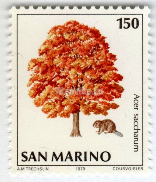 "марка Сан-Марино 150 лир ""Beaver (Castor sp.), Sugar Maple (Acer saccharum)"" 1979 год"