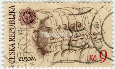 "марка Чехия 9 крон ""Europa 1994 - Peace and freedom"" 1995 год гашение"