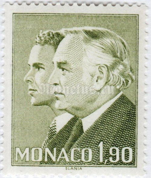 "марка Монако 1,90 франка ""Prince Rainier III and Prince Albert"" 1986 год"