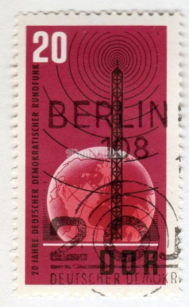 "марка ГДР 20 пфенниг "" Transmitter mast in front of globe"" 1965 год Гашение"