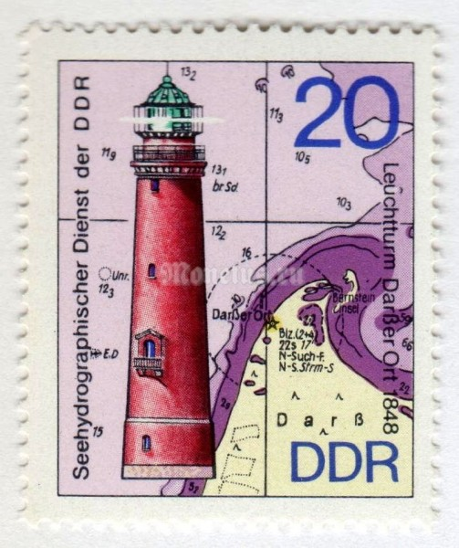 "марка ГДР 20 пфенниг ""Darsser Ort Lighthouse, 1848"" 1974 год"