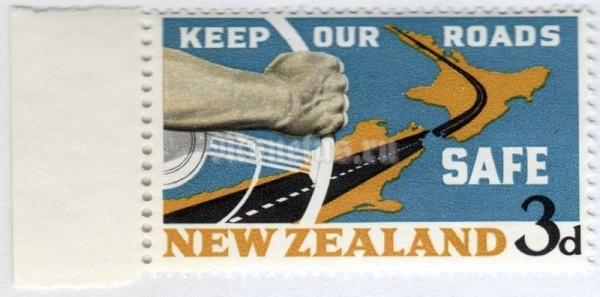 "марка Новая Зеландия 3 пенни ""Hand on the wheel & map of New Zealand"" 1964 год"