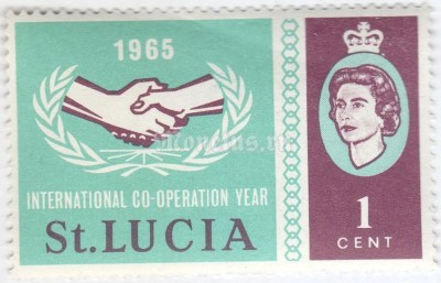 "марка Сент-Люсия 1 цент ""Symbol of International Co-operation Year"" 1965 год"
