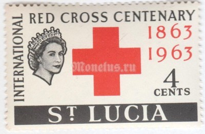 "марка Сент-Люсия 4 цента ""Red Cross,Queen Elizabeth II"" 1963 год"