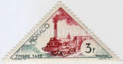 "марка Монако 3 франка ""Locomotive about 1850"" 1953 год"
