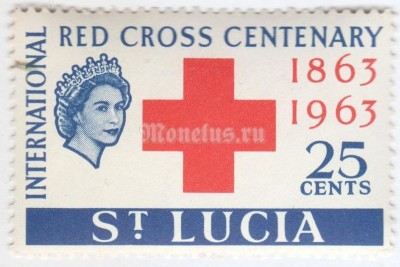 "марка Сент-Люсия 25 центов ""Red Cross,Queen Elizabeth II"" 1963 год"